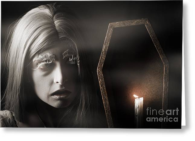 Creepy Vampire Woman With Light In Ghost Forest Greeting Card by Jorgo Photography - Wall Art Gallery