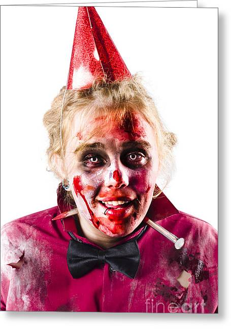 Creepy Woman In Halloween Costume Greeting Card by Jorgo Photography - Wall Art Gallery