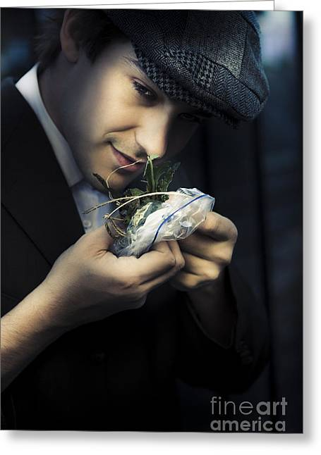 Criminal With Weeds And Green Grass Greeting Card