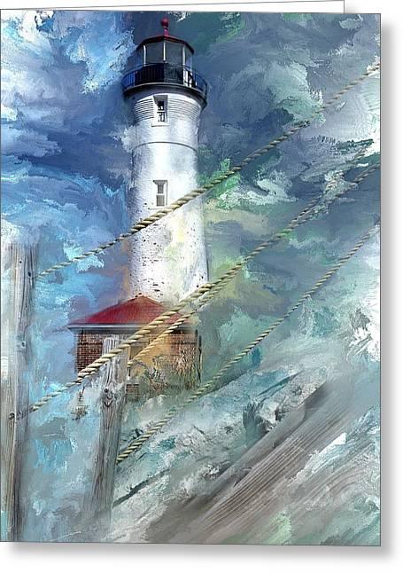 Crisp Point Lighthouse Michigan Greeting Card