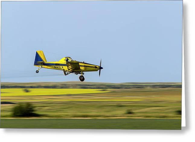 Crop Duster Airplane Spraying Flax Greeting Card by Chuck Haney