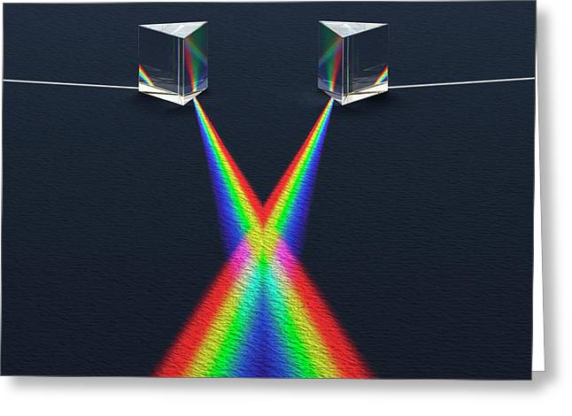 Crossed Prisms With Spectra Greeting Card by David Parker