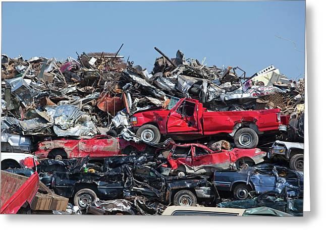 Crushed Cars At Scrapyard Greeting Card