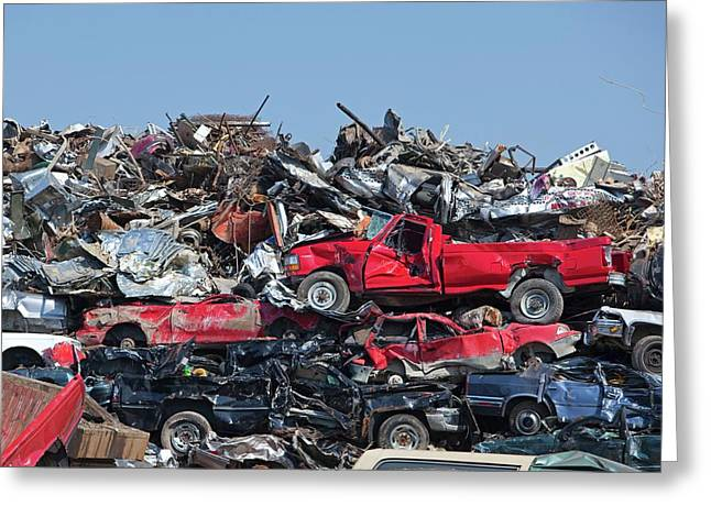 Crushed Cars At Scrapyard Greeting Card by Jim West