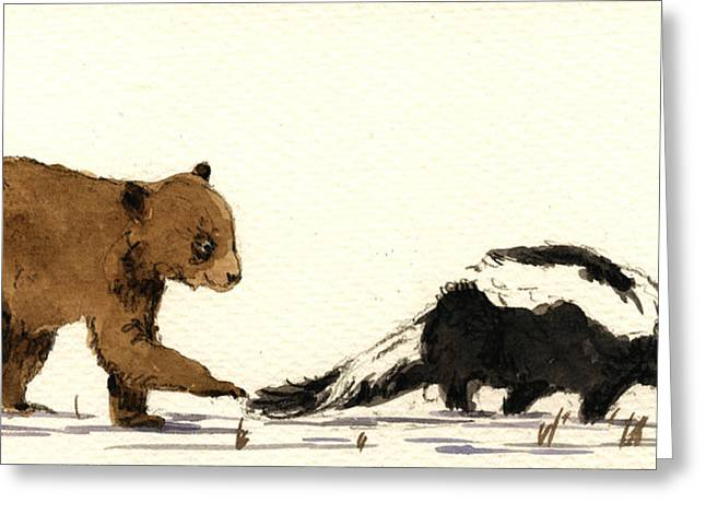 Cub Bear Playing With Skunk Greeting Card