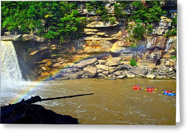 Cumberland Falls Rainbow Greeting Card by Frozen in Time Fine Art Photography