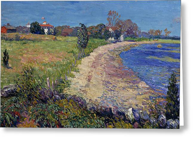 Curving Beach Greeting Card by William James Glackens