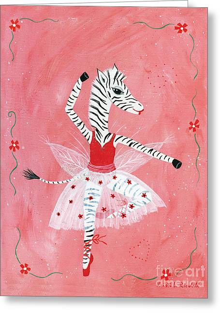 Custom Child's Zebra Ballerina Greeting Card by Kristi L Randall