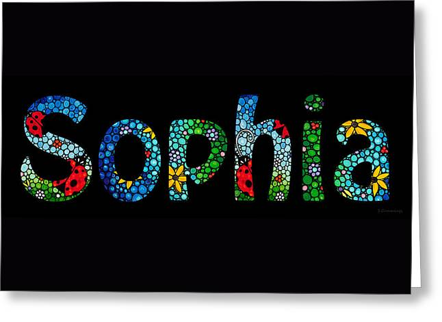 Customized Baby Kids Adults Pets Names - Sophia Name Greeting Card by Sharon Cummings