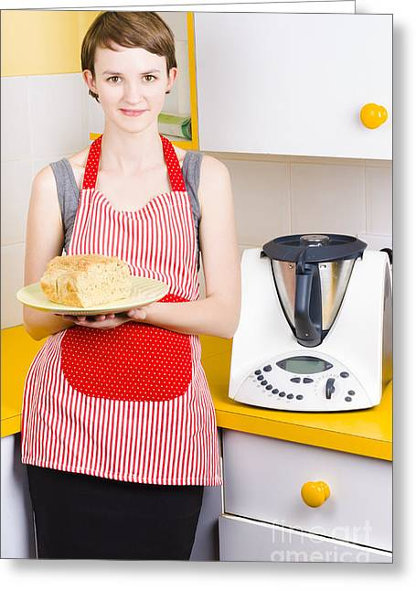 Cute Baking Woman Holding Fresh Bread In Kitchen Greeting Card