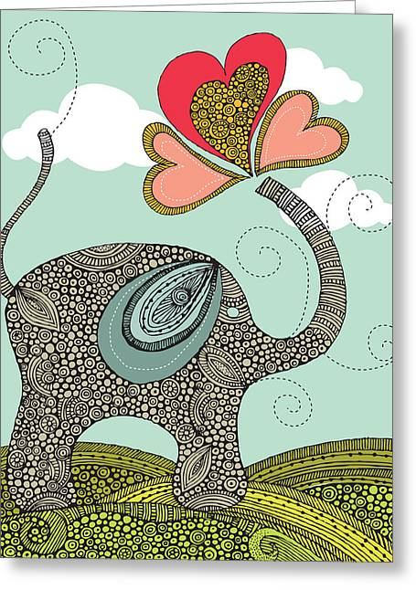 Cute Elephant Greeting Card by Valentina Ramos