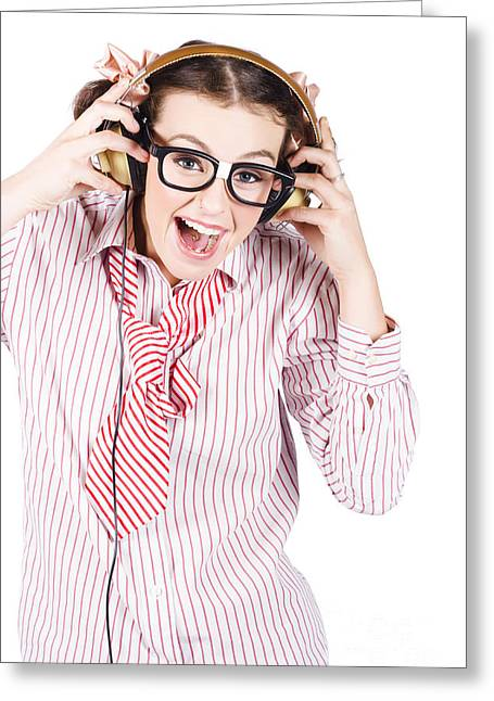 Cute Female Business Nerd Singing With Headphones Greeting Card