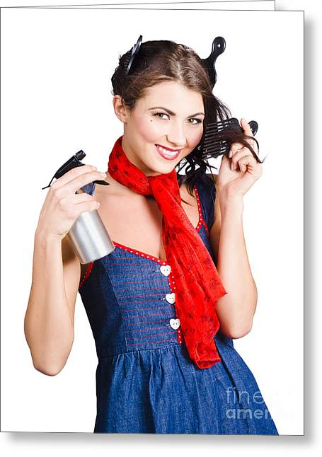 Cute Girl Model Styling A Hairdo. Pinup Your Hair Greeting Card by Jorgo Photography - Wall Art Gallery