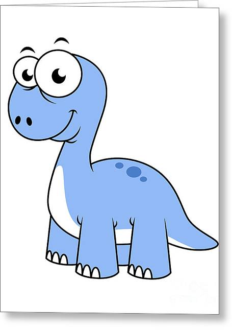 Cute Illustration Of A Brontosaurus Greeting Card by Stocktrek Images