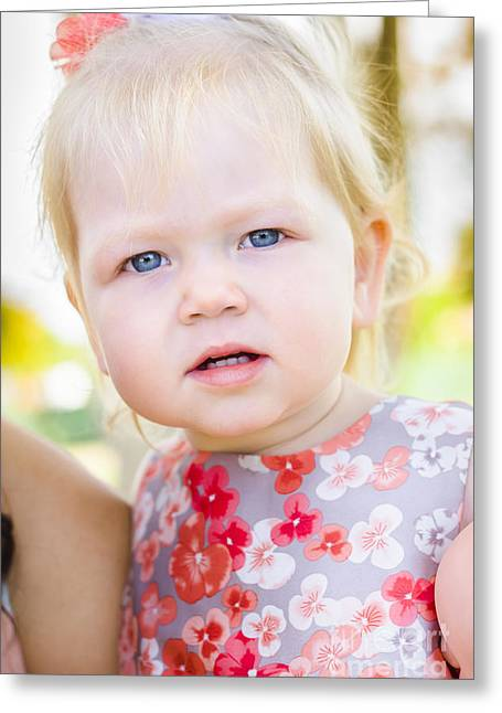 Cute Little Girl With Surprised And Shocked Face Greeting Card