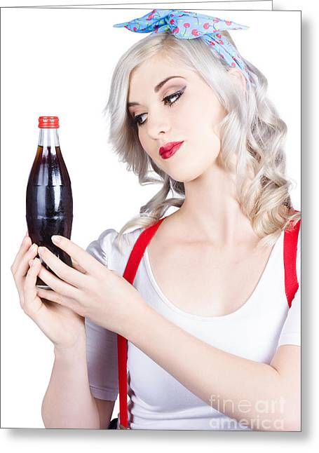 Cute Pin Up Girl With Soda Bottle. Vintage Cafe Greeting Card by Jorgo Photography - Wall Art Gallery