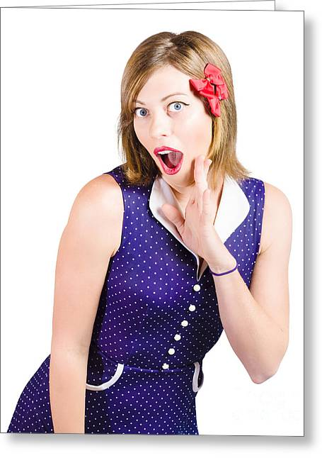 Cute Shocked Girl With Pinup Make-up And Hairstyle Greeting Card