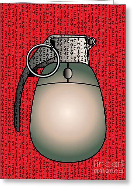 Cyber Warfare, Conceptual Artwork Greeting Card