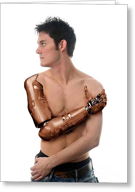 Cybernetic Arm, Composite Image Greeting Card by Victor Habbick Visions