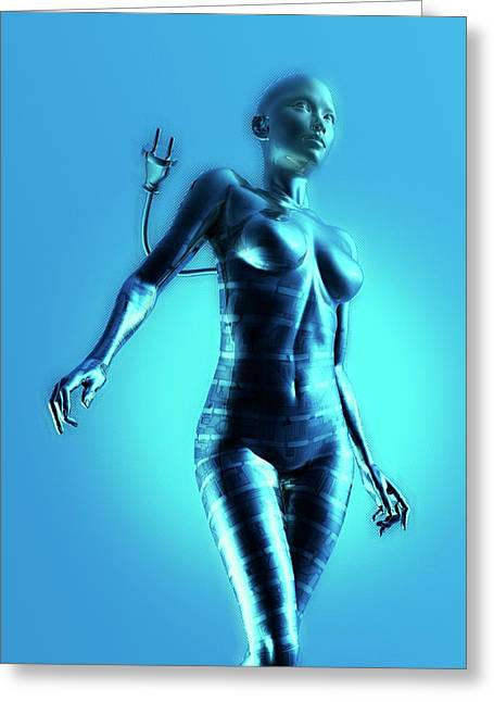 Cyborg Greeting Card by Victor Habbick Visions
