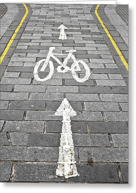 Cycle Path Greeting Card by Tom Gowanlock