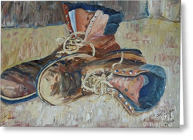 Dad's Work Shoes Greeting Card by Judith Espinoza