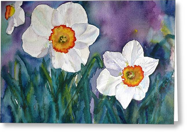 Greeting Card featuring the painting Daffodil Dream by Anna Ruzsan