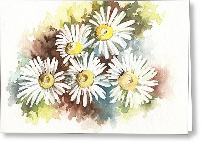 Greeting Card featuring the painting Daisies by Natasha Denger