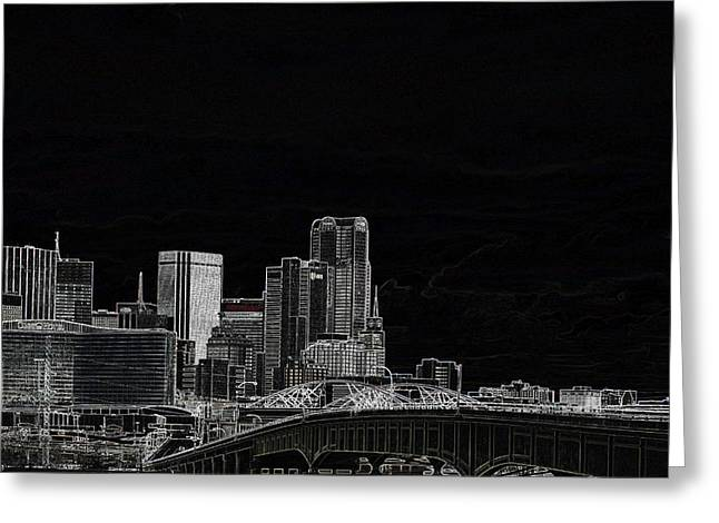 Dallas Skyline In Black - East Greeting Card