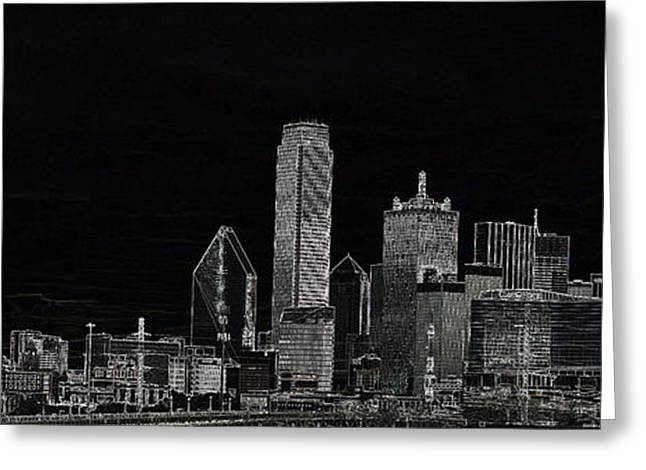 Dallas Skyline In Black Greeting Card
