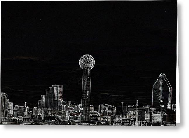 Dallas Skyline In Black- West Greeting Card