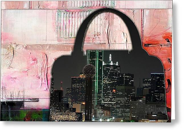 Dallas Texas Skyline In A Purse Greeting Card by Marvin Blaine