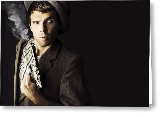 Dangerous Business Man Holding Gun Greeting Card by Jorgo Photography - Wall Art Gallery