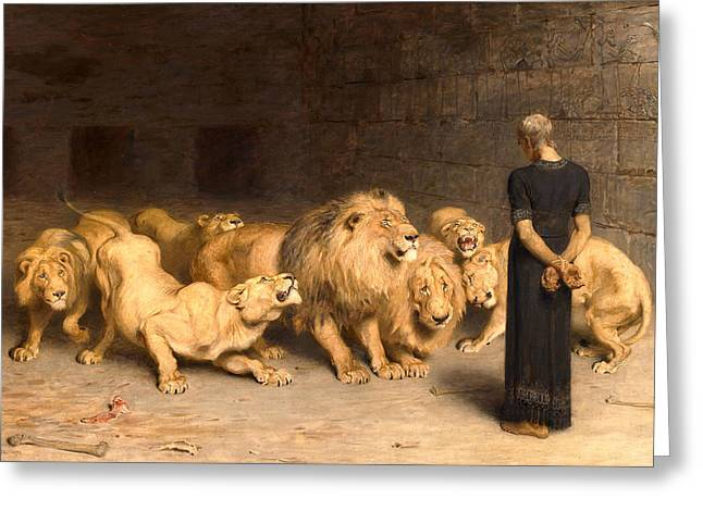 Daniel In The Lions' Den Greeting Card by Briton Riviere