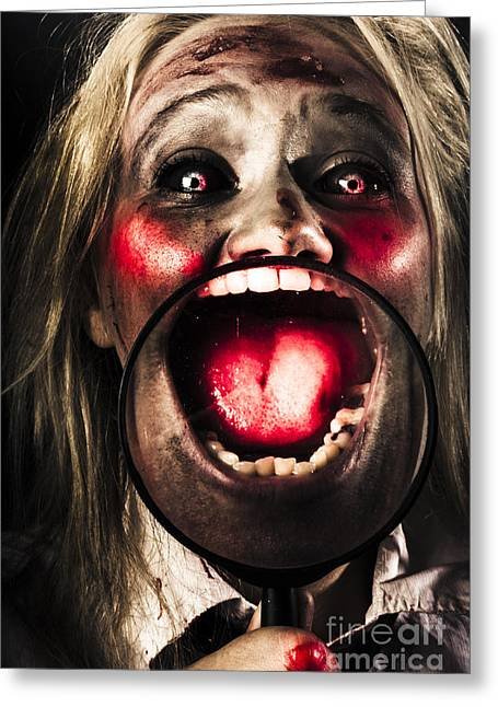 Dark And Scary Horror Face. Evil Laugh Greeting Card by Jorgo Photography - Wall Art Gallery