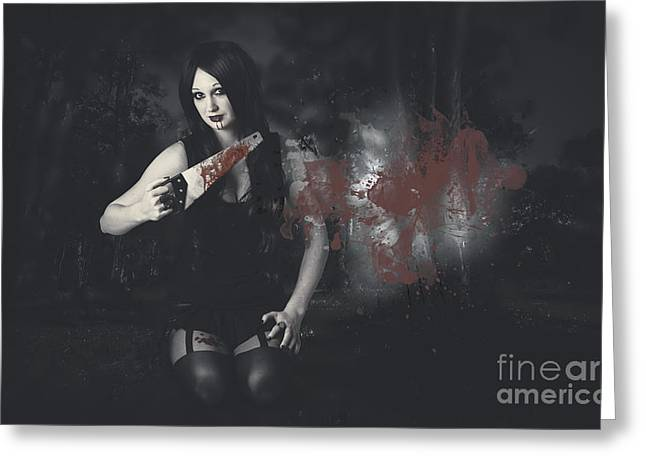 Dark Evil Vampire Girl With Killer Style Greeting Card by Jorgo Photography - Wall Art Gallery