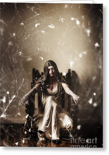 Dark Portrait Of A Demon Woman In Haunted House Greeting Card