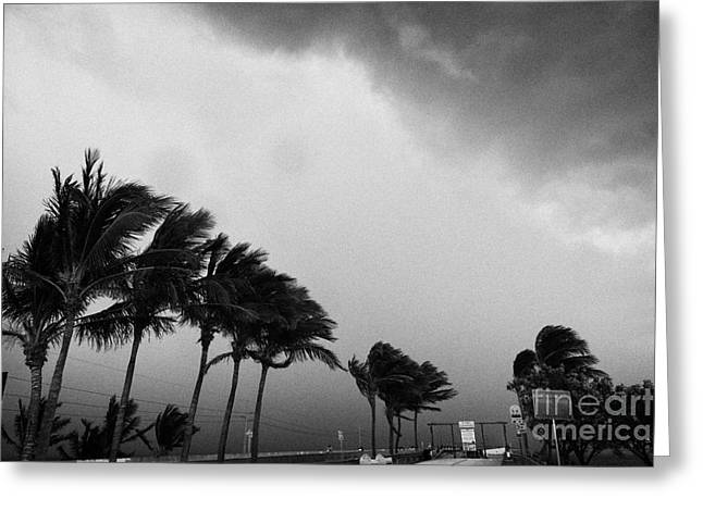 Dark Rain Storm Clouds Blow Over The Seven-mile Bridge Marathon Key Florida Keys Usa Greeting Card