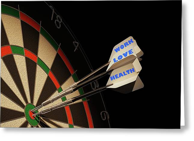 Dartboard And Three Darts Greeting Card by Leonello Calvetti