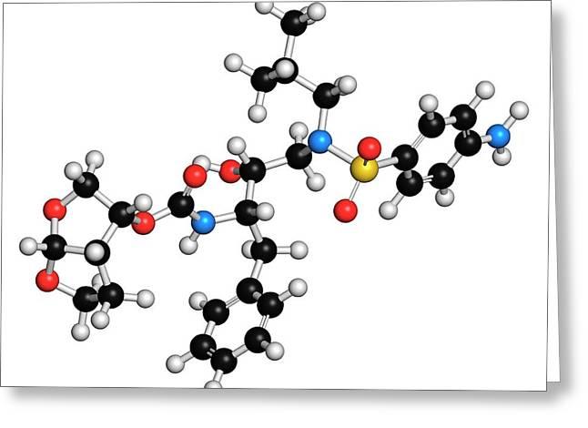 Darunavir Hiv Drug Molecule Greeting Card by Molekuul