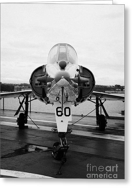 Dassault Etendard Iv M Ivm On Display On The Flight Deck At The Intrepid Sea Air Space Museum Greeting Card