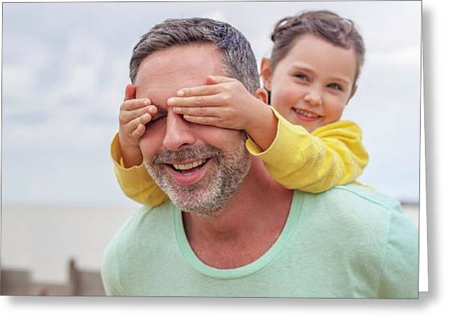 Daughter Covering Father's Eyes Greeting Card by Ian Hooton