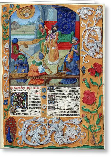 David And Musicians Greeting Card by British Library