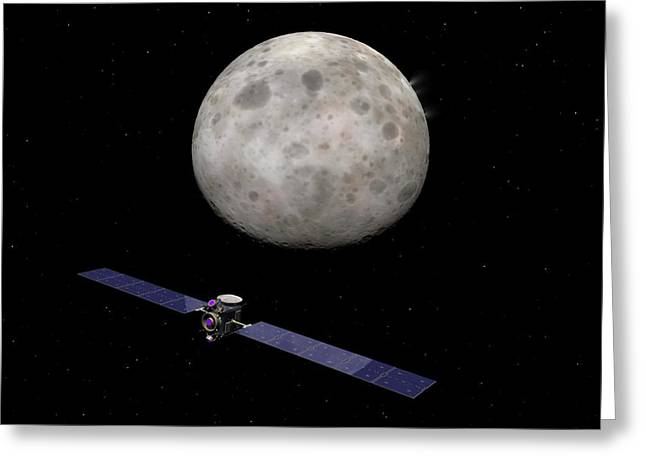 Dawn Spacecraft At Ceres Greeting Card by Walter Myers