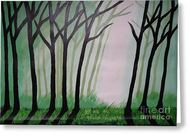 Day Light In Dark Forest Greeting Card by Jnana Finearts