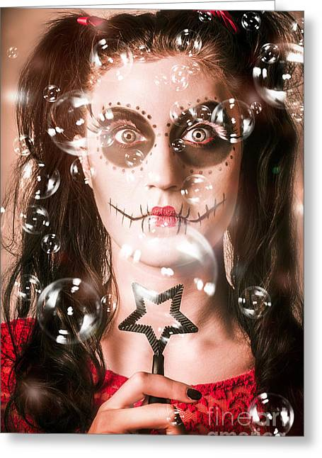 Day Of The Dead Girl Blowing Party Bubbles Greeting Card