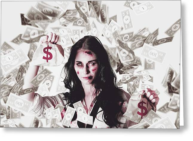 Dead Business Woman In Financial Crisis Debt Greeting Card by Jorgo Photography - Wall Art Gallery