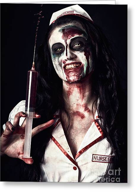 Dead Nurse Taking Blood Donation With Syringe Greeting Card by Jorgo Photography - Wall Art Gallery
