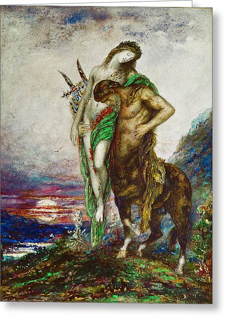 Dead Poet Borne By Centaur Greeting Card by Gustave Moreau