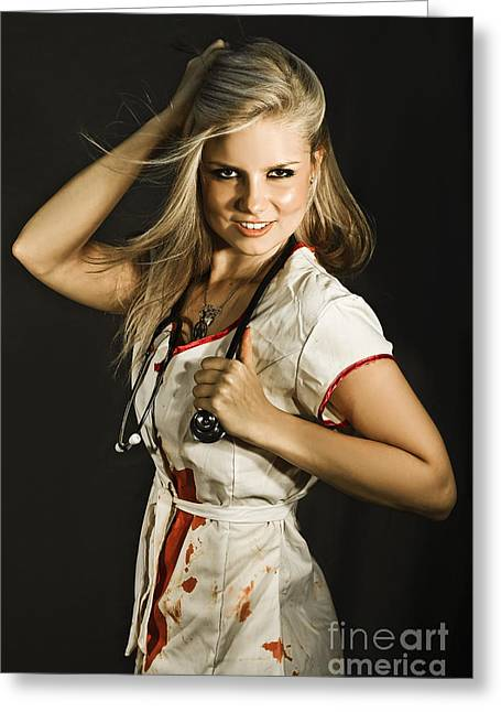 Dead Sexy Nurse Greeting Card by Jorgo Photography - Wall Art Gallery